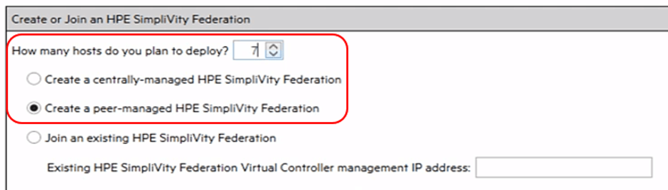HPE Simplivity deployment manager options
