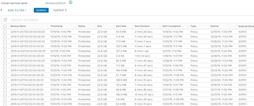 SimpliVity Search backups window
